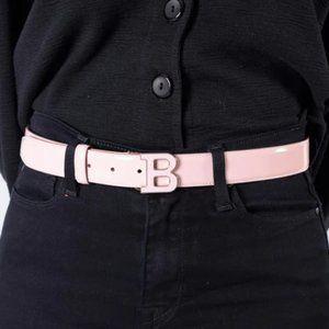 """Bally Pink Patent Pink """"B"""" Belt Size 34/85"""